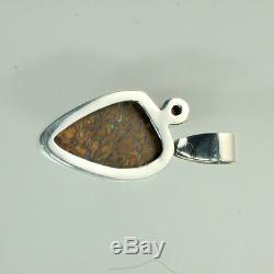 Bleu, Vert Et Rouge Solide Boulder Opal Pendentif En 100% En Argent Sterling