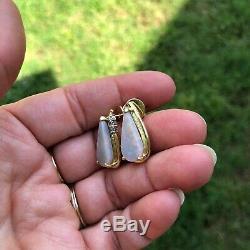 Boucles D'oreilles Avec Diamants En Or Jaune Massif 18k À Diamants En Or Jaune Massif 18k