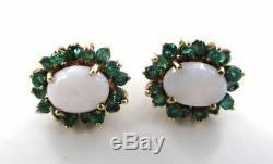 Boucles D'oreilles Avec Émeraudes Vertes En Or Jaune Massif 10 Kt Blanches