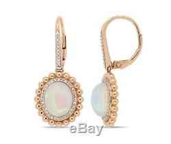 Boucles D'oreilles De Fiançailles En Or Rose Massif À 14 Carats Avec Diamants Et Opale 1,50 Ct
