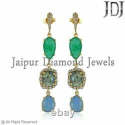 Boucles D'oreilles Emerald Opal Dangle Solide 14k Or Jaune Diamant Naturel Bijouterie Fine