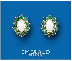 Boucles D'oreilles Emeraude Et Opale Solid 9 Carat Or Jaune Cluster Pierre Naturelle