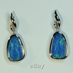 Boucles D'oreilles En Argent Sterling Aux Véritables Opales Australiennes, Vert Vif, 14552