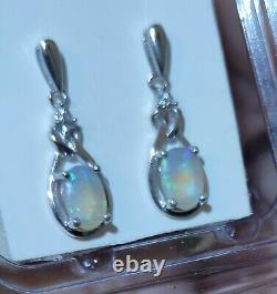 Boucles D'oreilles En Cristal Massif Vert/bleu De L'australie