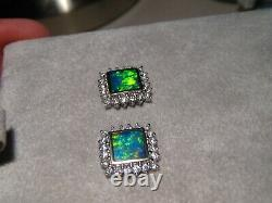 Boucles D'oreilles En Diamant Opal Naturel Or Blanc 18k 6 MM Carré