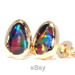 Boucles D'oreilles Opal Noir Australien 6x9mm, 9k Or Jaune, Vert Bleu