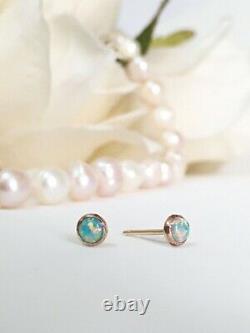 Boucles D'oreilles Opal Stud Solid Gold 14k Tiny Ear Studs Octobre Birthstone