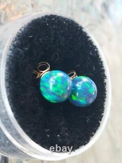 Boucles D'oreilles Vert Opal Round Coupe Stud 14kt Or Jaune Solide