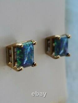 Boucles D'oreilles Vert Opale Princesse Coupé 14kt Or Jaune Massif