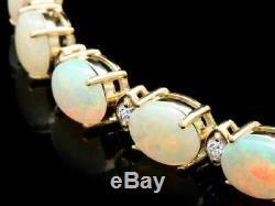 Bracelet En Alliage De Tennis 7 Avec Plaquette En Or Jaune Massif De 14 Carats Avec Opale De Coupe De 15 Ct
