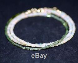 Bracelet Fantaisie En Tourmaline Verte Et Opale Naturelle Avec Long Collier En Or Massif 14 Carats