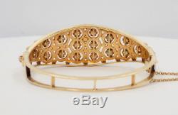Bracelet Jonc À Charnière En Or Jaune Massif 14k À Émeraudes Et Opales, 28,1 Grammes De Gia