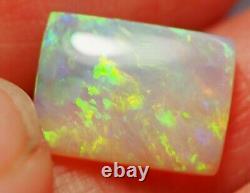 Bright Flash Australien Andamooka Crystal Solid Opal 3.43 Ct Vert Orange Bleu