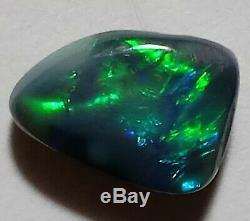 Brillant! 1.8ct Solid Black Opal Green & Blue Freeform Lightning Ridge