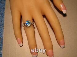 Brillant Gem Australian Opal And Diamond Ring Solide Or Blanc 14k