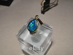 Brillant Gem Blue & Couleur Verte Australian Opal Pendentif Solide 14 K Or Jaune