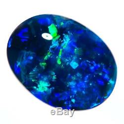 Brillant Saphir Vert 2.74ct 12x9mm Solid Black Opal Lightning Ridge