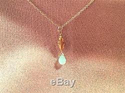 Briolette D'opale Péruvienne Naturelle, Collier De Charme En Or Massif 18 Carats 16, Inde