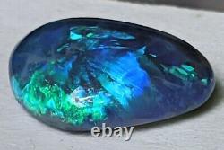 Broadflash! 2.47ct Solid Black Opal Green & Blue Freeform De Lightning Ridge