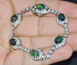 Certifié Naturel 10.51cts Vs F Diamond Noir Vert Opal Bracelet En Or Massif 18k