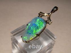 Charmant 6.3 Ct Black Opal Pendentif Solide 14 Kt Or Jaune