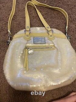Coach Poppy Spotlight Sequins Bag Opal Pearl Purse Yellow Ltd Edition #16303