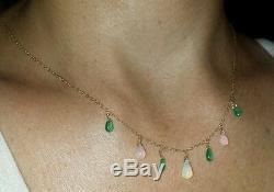 Collier Avec Pendentif Émeraude Et Opale Taillée Dans Une Poire Zambienne De 2 Ct Taillée Dans L'or 14k