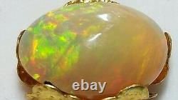 Collier De Citrine D'or Rouge Éthiopien Fire Opal Cabochon Solide 14k