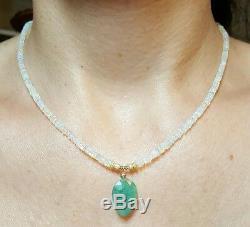 Collier En Or 14k Massif Avec Poire Émeraude D'éthiopie, Opale De Feu, 18 Carats