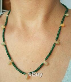 Collier En Or Massif Avec Saphir Vert 14 MM