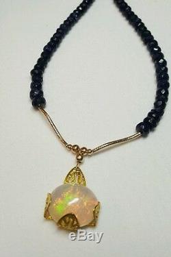 Collier En Saphir Massif D \ 'ethiopie Avec Opale De Feu Vert Et Vert Opale De 5 Carats