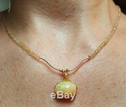 Collier Éthiopien Cabochon Opale De Feu Rouge Jaune Vert