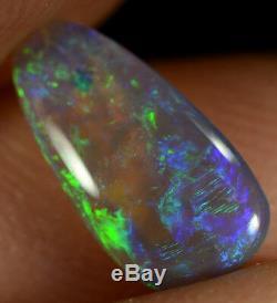 Cristal Opale Australienne Massif Naturel 0.75ct Bleu Électrique / Large Perle Flash Vert