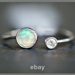 Diamant Naturel Lunette Opale Cuff Band Bague Solide 14k Or Blanc Bijoux Fin Us7