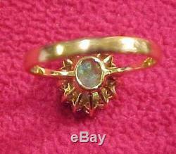 Domaine Vintage Beaux 14k Clignotant Solid Black Opal Bague En Diamant