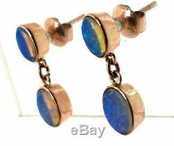 Dormeuses Pendantes À Opale Massive En Or Rose Massif 9 Carats, Bleu Vert Et Rose