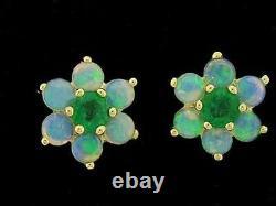 E058- Véritable 9ct Solid Gold Natural Opal & Fleur Emeraude Boucles D'oreilles