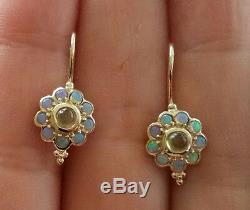 E106 Véritable Or Jaune 9 Ct Solide Naturel Peridot & Opal Blossom Boucles D'oreilles