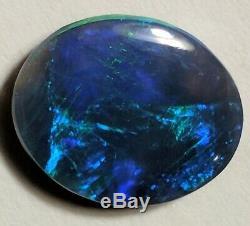 Éblouissant! 3.75ct Solid Black Opal Blue & Green Ovale Lightning Ridge