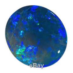 Éclairant Bleu-vert 3.78ct 12x11mm Solide Cristal Noir Cristal Opal Lightning Ridge