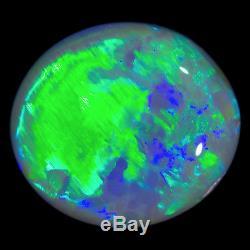 Électrique Électrique Green-blue 2.36ct 10x8mm Solide Semi-noir Opal Lightning Ridge