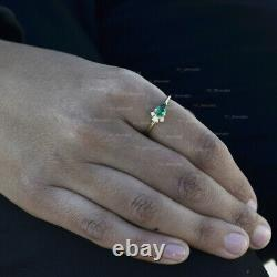 Emerald Opal Diamond Bague Solide 14k Or Jaune Bijoux Minimaliste Fine Fabriqué À La Main
