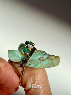 Emeralds Opales Et Chrysocolla Solid18k Bague En Or Fabriqués À La Main