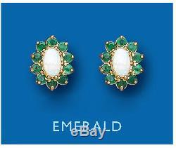 Emeraude Et Opal Boucles D'oreilles Solides 9 Carat Goujons Or Jaune Pierre Naturelle Cluster