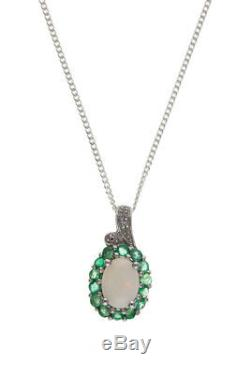 Emeraude Et Opal Pendentif Diamant En Argent Massif Collier Pierres Naturelles