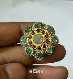 Emeraude, Opal, Ruby Gemstone Avec Diamant Pave Bague Fine Qualité Argent 925 Massif