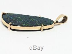 Énorme Andamooka Poli Bleu Vert Opale Solide Rouge 2 Faces En 9k Pendentif En Or 9 Ct