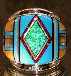 Énorme Bague Turquoise Opal Rouge Noir Hommes 925 Vert Solide Brésil 11