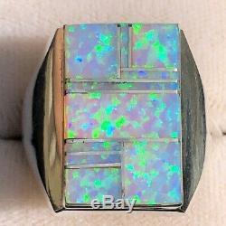 Enorme Green Light Blue Men Opal Knuckle Knuckle Ring 10 Lourds T Uk Solide