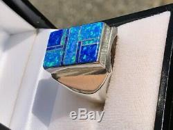 Énorme Hommes Noir Bleu Vert Opal De Knuckle À Knuckle Ring 11.5 Lourd W Uk Solid